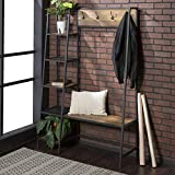 WE Furniture  5 Shelf Entryway Bench Hall Tree Storage Coat Rack, 72 Inch, Brown Reclaimed Barnwood