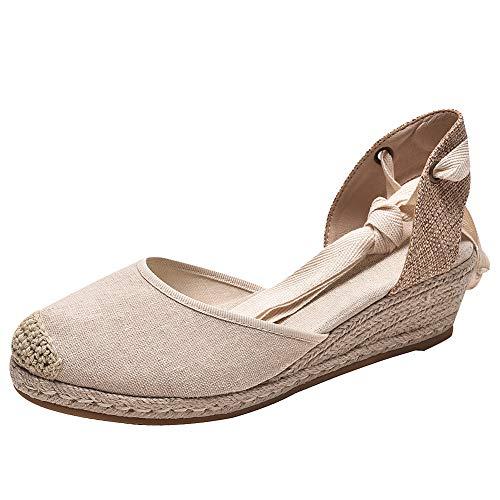 rismart Mujer Alpargatas Tacon Sandalias Medio Cuña Tiras Mezclilla Zapatos Verano SN02714(Almendra,37 EU)
