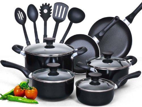 Cook N Home NC-00296 Juego de utensilios de cocina antiadherentes de 15 piezas con agarraderas uave, negro