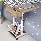 UKMASTER Table de Chevet Roulante, Table Ordinateur Portable Lit à 2 Niveaux...