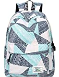 Backpack for Teens, Fashion Geometric Pattern Laptop Backpack College Bags Shoulder Bag Daypack Bookbags Travel Bag by Mygreen (Blue&Green&Orange)