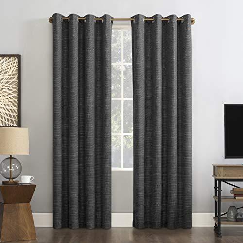 Solar Zero Harding 2-Pack Burlap Weave Thermal Excessive 100% Blackout Grommet Curtain Panel Pair, 52″ x 96″, Coal