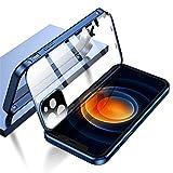 ダブル安全ロック付き iPhone12 ケース レンズ保護カバー付き 表裏両面ガラス iPhone 12 アル……