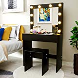 Mecor LED Dressing Table Makeup Vanity Table w/10 LED Lights Mirror,Vanity Set with Stool&Drawer,Wood Dressing Table Bedroom Furniture Girls Women Gifts Black