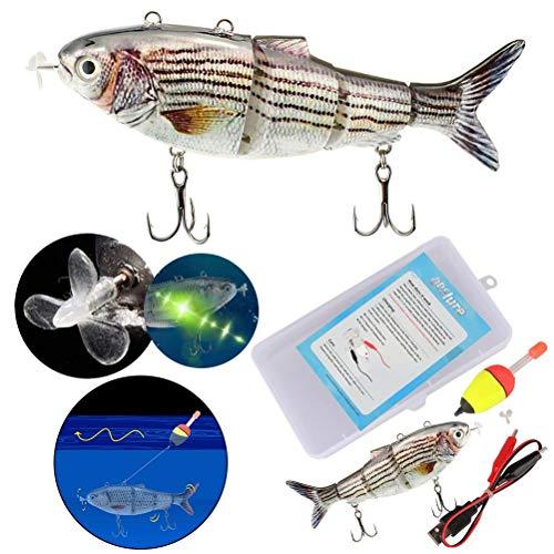 Qisen Esca Bionica, Esche Artificiali, USB Elettrico Pesca Lure, Esche Artificiali Spinning Lenza da Pesca Mare Scatola Esca Finta Esche da Pesca a pi Sezioni Dura con Ganci