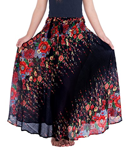 Lannaclothesdesign Women's 37' Long Maxi Skirt Bohemian Gypsy Hippie Style Clothing (US 37 INC S-M, Black Flower)