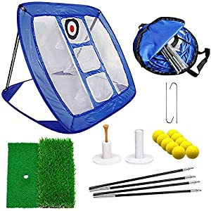 【EASY TO SET UP!】: SOLD IN THE USA! Easy Pop-Up chipping net design ideal for indoor and outdoor use. Our unique nail design will help you solve the chipping net being blown over in windy conditions. Three target designs to help you improve your accu...