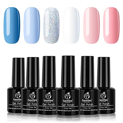 Beetles Gel Nail Polish Set, Cotton Candy Collection Pink Blue Gel Polish Glitter Gel Polish White Nail Polish Art Colors LED Soak Off Nail Art Gel Kit, 7.3ml Each Bottle