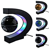 Floating Globe with Colored LED Lights C Shape Anti Gravity Magnetic Levitation Rotating World Map for Children Gift Home Office Desk Decoration(Black)