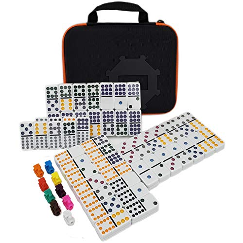 Mexican Train Dominoes Game Accessories 91 Piece Double 12 Color Dominoes Set for Kids Mexican Trains Original Pieces Toy by Kalolary