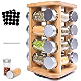 Frasheng Especiero,Madera natural Especiero,Especiero giratorio en madera,360 ° Especiero Giratorio...