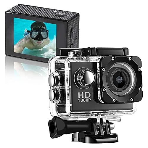 HDGFYTOR 1080P Action Cam, Sport Action Camera Full HD 12MP 140° Grandangolare,Telecamera Subacquea con Accessori per Nuoto, Ciclismo e Altri Sport all'aperto (Color:Nero)