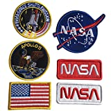 Bundle 6 Pcs Tactical Flag Patch - Space Fans USA NASA Patch Embroidered Morale Lot Military Embroidered Patches (A-Hook and Loop Fasteners Backing)