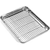 Baking Sheet with Rack Set, Umite Chef Stainless Steel 18 Inch Cookie Sheet Baking Pans with Cooling Rack, Cookie Pan with Rack Non Toxic & Healthy, Easy Clean & Heavy Duty, Dishwasher Safe