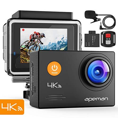 APEMAN Action Camera A79, 4K 20MP WiFi Webcam subacquea impermeabile 40M con microfono esterno e telecomando
