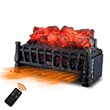 Sunday Living Electric Log Set Heater, Insert Fireplace Heater with Realistic Flame and Ember Bed, 21 Inch, Adjustable Brightness, 8-hour Timer, Remote Control, Antique Black Frame, IFP606B