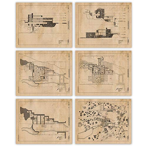 Vintage Fallingwater House by Frank Lloyd Wright Prints, Set...