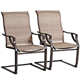 BALI OUTDOORS All-Weather Spring Motion Teslin Patio Dining Chairs Set of 2 for Outdoor Lawn Garden Backyard