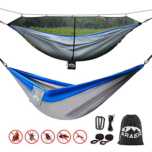 ARAER Double Camping Hammock, 660 Pounds Capacity, Mosquito Net and Sturdy Tree Straps Included, Easy to Setup, Portable and Lightweight for Outdoor Backpacking, Camping, Indoor Garden, Yard