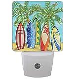 Pfrewn Summer Palm Surfing Board Night Light Plug in Set of 2 Tropical Beach Nightlights LED Auto Dusk-to-Dawn Sensor Lamp for Bedroom Bathroom Reading Kitchen Hallway Stairs Decorative