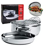 Oval Multi Roaster- 3-in-1 Stock Pot (11 QT), Turkey Roasting Pan w Rack and Saute Cookware- Stainless Steel Tri Ply, Induction Compatible w Stick Resistant Interior