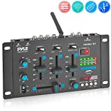 Wireless DJ Audio Mixer - 3 Channel Bluetooth Compatible DJ Controller Sound Mixer, Mic-Talkover, USB Reader, Dual RCA Phono/Line in, Microphone Input, Headphone Jack - Pyle PMX8BU
