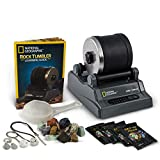 NATIONAL GEOGRAPHIC Hobby Rock Tumbler Kit - Includes Rough Gemstones, 4 Polishing Grits, Jewelry...
