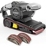 Ponceuses à bande Jellas, Ponceuse électrique 1000 W, 6 commandes à vitesse variable avec interrupteur autobloquant, papier de ponçage 12 pièces (75x533 mm), cordon d'alimentation de longueur 3M