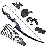 Tongtu Recurve Bow and Arrows for Adults 30 40 lbs Archery Takedown Bow Set Aluminum Alloy Riser Hunting Longbow Kit Right Hand (40lbs)