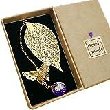 Toirxarn Marque-page de feuille de métal exquis, avec papillon 3D et perles de verre...
