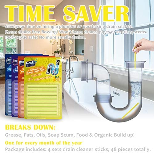 [2021Newest] Drain Cleaner Sticks Prevents Grease Build-Up and Prevents The Sink from Clogging Non-Toxic Sink Cleaner for Kitchen Bathroom Drainage Deodorant. (4color)