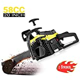 dessen 58CC Chainsaw 20 Inch, 3.5HP 2 Stroke Gasoline Powered Handheld Woodcutting Chain Saw for Garden, Farm with Tool Kit
