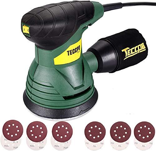 TECCPO Ponceuse Excentrique, 350W, 14,000 RPM, Fourni avec 12pcs 125mm Disque de Ponçage (Grain Abrasif de 80, 180) pour polir le bois aussi le métal, TARS22P Bricolage