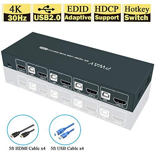 GHT HDMI KVM Switch USB 4 Port Umschalter 4K, 4K@30Hz,USB2.0 , HDCP1.2, 4 PC 1 Monitor,4 In 1 Out, Hotkey Switch,YUV 4: 4: 4, Ultra HD,Unterstützung Drahtlose Tastatur Und Maus,Mit Kabel, GreatHTek