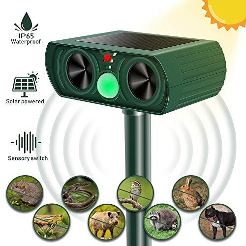 Molbory Katzenschreck Ultraschall Solar, wasserdichte Utraschall Tiervertreiber mit Batteriebetrieben und Auto IR-Induktion Einstellbar Ultraschall Abwehr Tierabwehr für Katzen Hunde Schädlinge