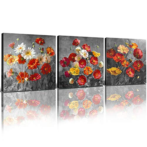 Daisy Flower Painting Bathroom Wall Art Yellow Red Poppy Kitchen...