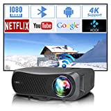 Full HD Wifi Bluetooth Projector 1080P Native Support 4K, 7200 Lumen LED Smart Android Wireless Home Outdoor Business Projector 1920x1080 USB HDMI VGA AV Audio for Laptop PC TV DVD PS4 Smartphones Mac