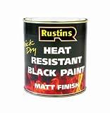 Rustins HRMB500 500ml Heat Resistant Paint - Black