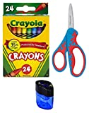 Crayola Crayons, 24 Count | Fiskars 5 Inch Softgrip Kids Scissors (Colors May Vary) | Crayon and Pencil Sharpener | Great School Bundle