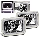 ModifyStreet 7x6 H6014/H6052/H6054 Chrome Crystal Headlights Lamps Conversion with White Hi-Power 3D Halo Tube Ring