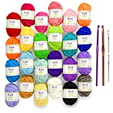 Mira Handcrafts 24 Acrylic Yarn Skeins | Total of 525 Yards Craft Yarn...
