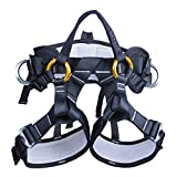 kissloves Full Body Safety Harness Outdoor Climbing Harness Half Body Harness Safe Seat Belt for Mountaineering Outward Band Expanding Training Rock Climbing Rappelling Equip (Half-Body Black)