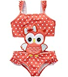wildwalk One-Shouldered Octopus Pattern Baby Girl's One Piece Bathing Suit (4T, owl)