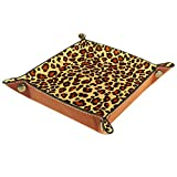 Bandeja de cuero con diseño de Jaguar salvaje de Jaguar de Panther Leopard para guardar llaves, teléfono, monedas, relojes, organizador de joyas, bandejas para guardar valet