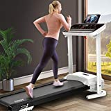 loinrodi Adjustable Incline Electric Folding Treadmill 300 lb Capacity Foldable Proform Portable Fitness Walking Commercial Treadmill Running Machine for Apartment for Home with LCD Monitor Screen