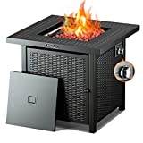 TACKLIFE Propane Fire Pit,Outdoor Companion,28 Inch 50,000 BTU Auto-Ignition Gas Fire Pit Table with lid, ETL Certification and Strong Striped Steel Surface, Table in Summer, Pit in Winter