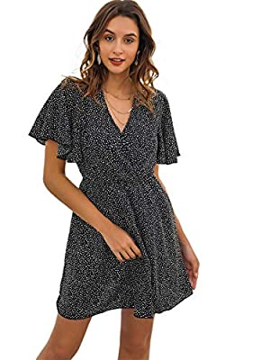 Short Sleeve,V neck, All Over Print, Butterfly Sleeve, A Line, High Waist, Summer Short Dress Suit for Casual, daily wear and so on Fabric has no stretch Machine Washable or Hand Washable Please read the size chart in the picture carefully before ord...