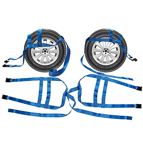 Bang4buck 4 Pieces 15' to 20' Rim Car Rachet Tow Dolly Basket Straps Adjustable Racing Rally Dolly Wheel Net with Hooks