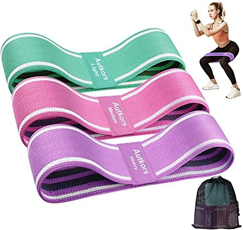 Autkors Elastici Fitness(3 Pezzi),Bande Elastiche di Resistenza Fasce Elastiche Fitness Antiscivoli in Tessuto con 3 Livelli di Resistenza per Yoga,Pilates,Palestra