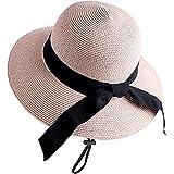 SIGOYI Chapeau Paille Femme Plage été Vintage Beige Chapeau Fedora Ajustable en Paille Mode avec Bord Hats